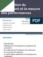 L'Évaluation Du Rendement Et La Mesure Des Performances