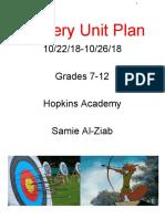 archery unit plan - grades 9-12