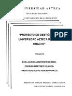 Proyecto de Gestión de La Universidad Azteca Plantel Chalco