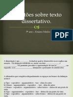 Questões Sobre Texto Dissertativo