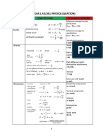 AQA a Level Physics Equation Sheet