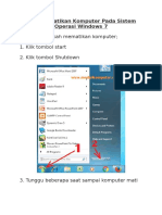 Cara Mematikan Komputer Pada Sistem Operasi Windows 7