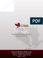 FMS Delhi - Summer Placement Report 2022