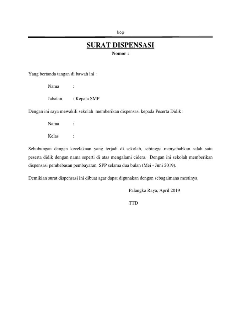 Contoh Surat Sekolah Memberikan Dispensasi Ke Siswadocx