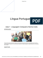 1 Aula - Língua Portuguesa - Linguagem Coloquial e Norma Culta