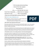 InstructIonal project 4 observatIon  form 1