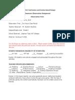 classroom observation assignment-form