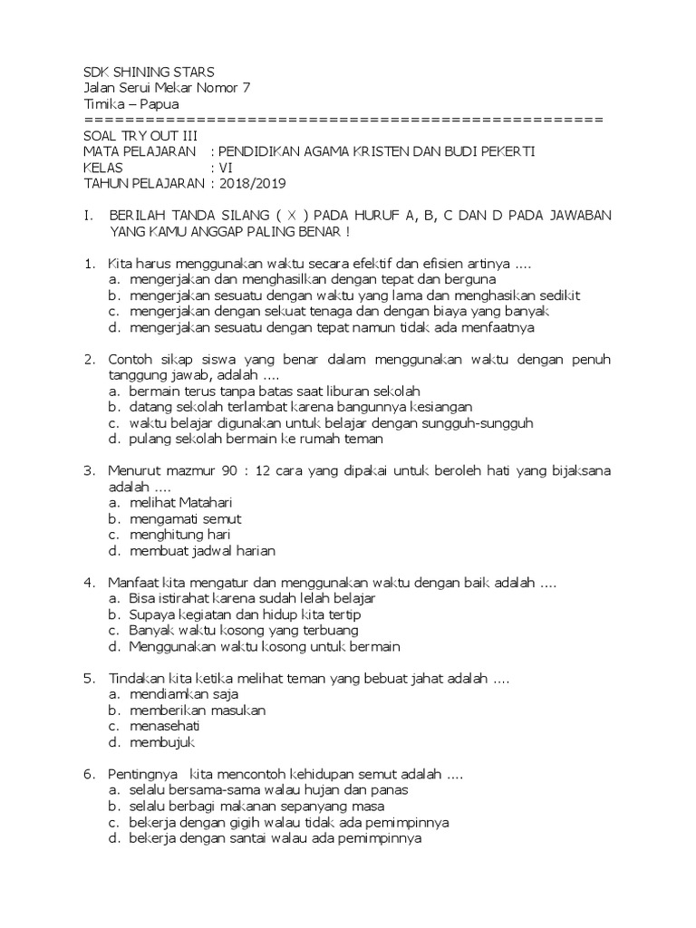 Contoh Soal Try Out Agama Kelas 6 Sd