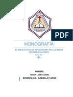 MONOGRAFÍA (EL IMPACTO DE LOS INFLUENCERS EN LAS REDES SOCIALES)