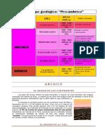 Material para evolución sobre las reas Arcaica y Proterozoica