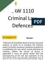 Defences  (Criminal Law- Cape Law)