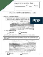 Avaliação 2º Ano Geografia I UDB
