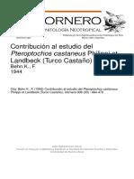Contribución Al Estudio Del Pteroptochos Castaneus Philippi Et Landbeck (Turco Castaño) Behn K., F. 1944