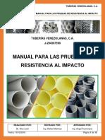 MANUAL PARA LAS PRUEBAS DE RESISTENCIA AL IMPACTO DE TUBERÍAS DE PVC.