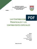 CONTRIBUCIONES PARAFISCLES y Contribuyentes Especiales