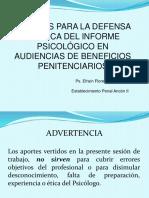 Aportes Para La Defensa Técnica Del Informe Psicológico en Audiencias de Beneficios Penitenciarios