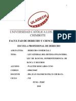 Ley General Del Sistema Financiero. Ley de Bancos, Superintendencia de Banca y Seguros