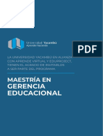 Brochure Maestria Gerencia Educacional Universidad Yacambu