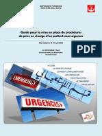 Guide Pour La Mise en Place de Procédures de Prise en Charge en Urgence
