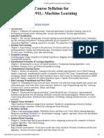 CS 391L Machine Learning Course Syllabus
