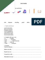 Test Paper Cls a Iiia School Objects