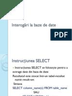 Interogări La Baze de Date