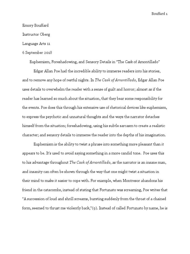 Essay about the cask of amontillado essay on siddhartha gautama