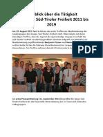 Rückblick über die Tätigkeit der Jungen Süd-Tiroler Freiheit