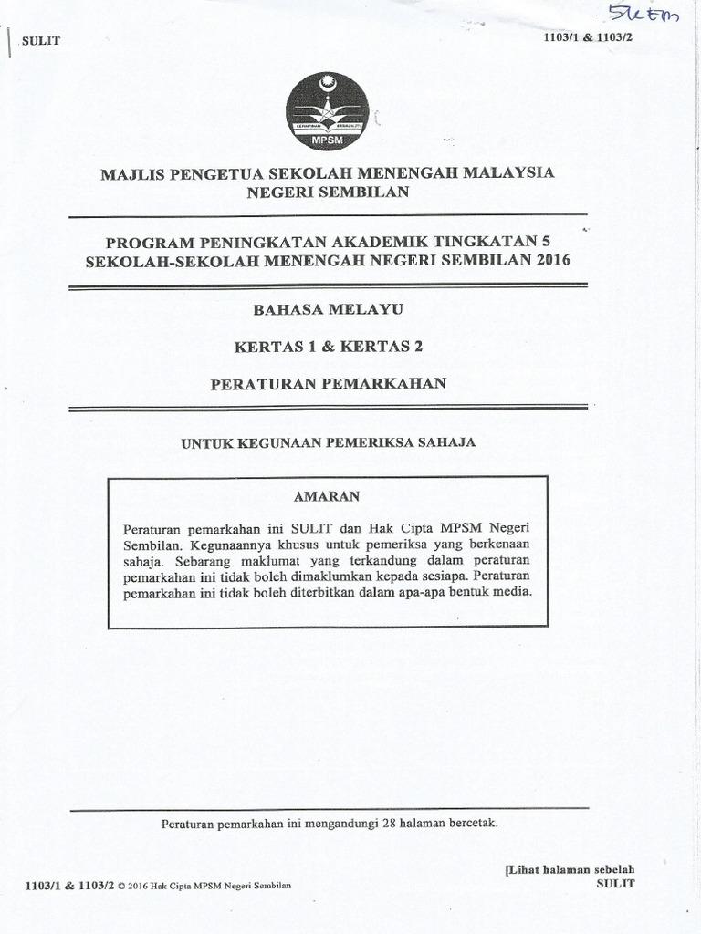 Skema Jawapan Kertas 1 Dan Kertas 2 Negeri Sembilan Bm Spm Percubaan Pdf
