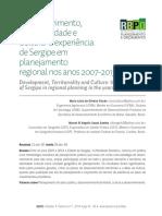 Artigo RBPO 2018 - Desenvolvimento, Territorialidade e Cultura - E Experiência de Sergipe Em Planejamento Territorial Nos Anos 2007-2013