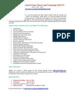 408831362 International Journal of Game Theory and Technology IJGTT