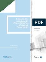 Estimation du coût du projet d'immobilisation à l'étape de l'avant-projet