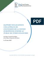 Rapport sur les effets collatéraux de l'extension de la notion européenne d'offre au public de titres financier