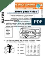 Ficha de Sinonimos Para Niños Para Segundo de Primaria (1) (Reparado)