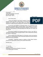 Carta Embajador Vecchio a Almirante Faller