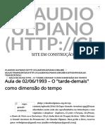 Aula de 02-06-1993 – O _tarde-Demais_ Como Dimensão Do Tempo. Claudio Ulpiano