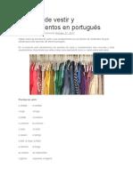 Prendas de Vestir y Complementos en Portugués