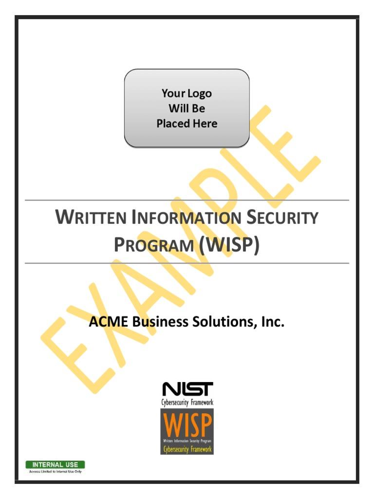 2018 1 Example WISP NIST CSF Written Information Security