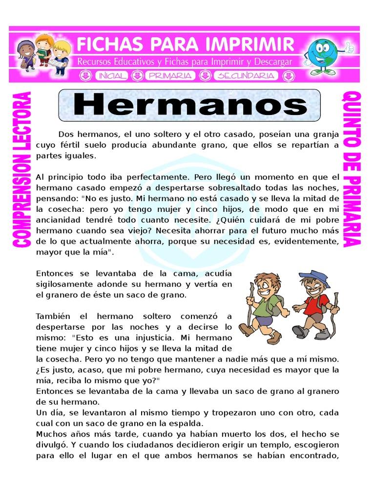 Ficha Los Hermanos Para Quinto De Primaria Comprensión Lectora