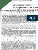 Concertaran Ley del Trabajo Fedecamaras presentará su propio proyecto de acuerdo - El Diario de Caracas 29.05.1989