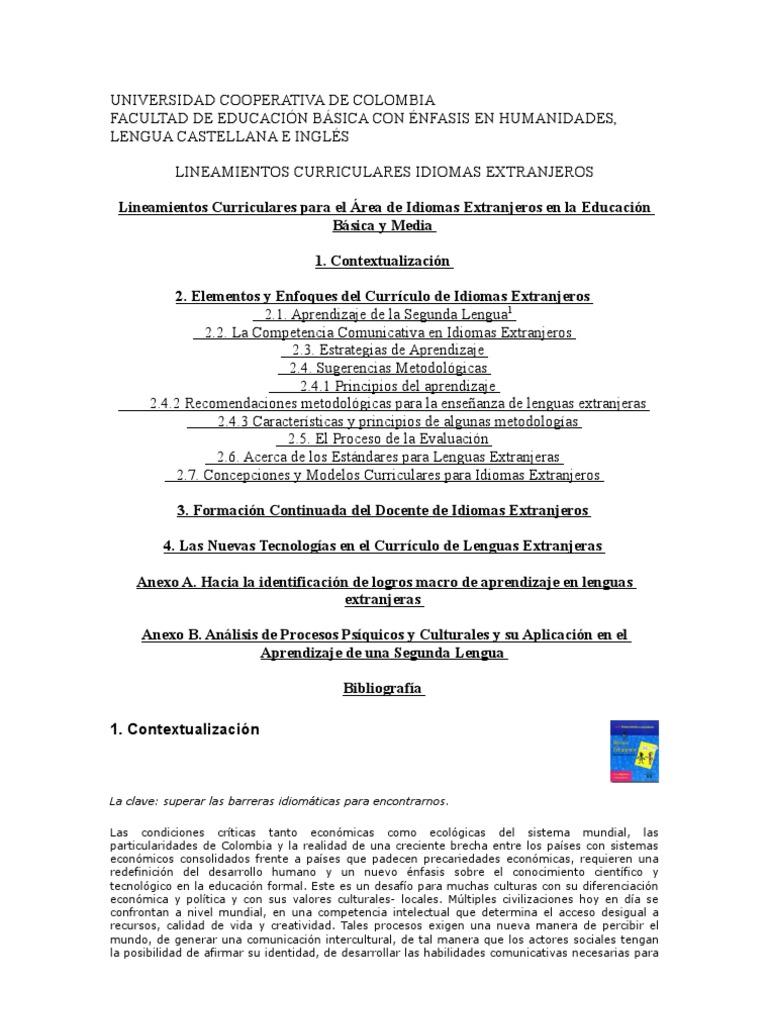 LlINEAMIENTOS CURRICULARES INGLÉS