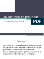 Los Contratos en Particular - El Contrato de Transacción