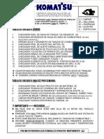 Material Checklist Excavadoras Hidraulicas Komatsu Tabla Chequeo Diario Ajustes Revisiones Engrases Inspecciones
