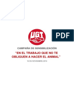 Campanya Sensibiliacion NoAnimal Salud Laboral UGT