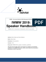 IWMW 2019 Speaker Handbook (v 1.0)