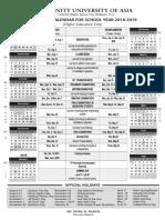 Academic Calendar 2018 to 2019