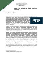 Intervención y tratamiento de las dificultades del lenguaje lecto-escrito, calculo y nociones matemáticas.  (Relatoria)