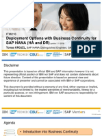 Sap Teched 2016 - Deployment Options With Business Continuity for Sap Hana (Ha and Dr)