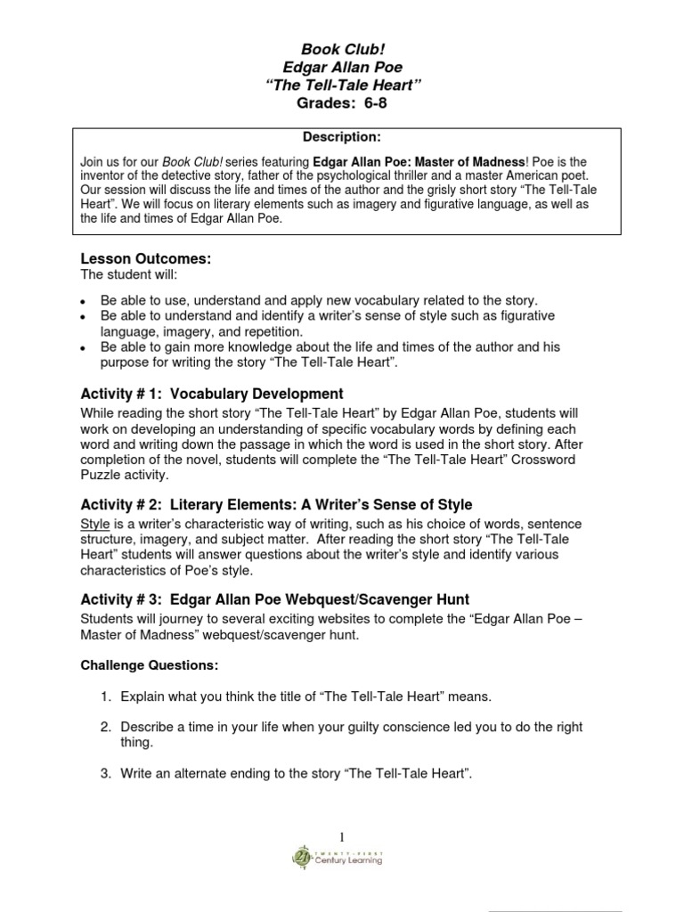 Tell Tale Heart Edgar Allan Poe – The Tell Tale Heart Worksheets