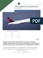 Delta Airlines Testa Wi-Fi Gratuito Em Voos Selecionados